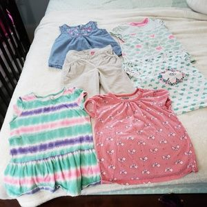Lot of 5 3T summer tops and one capri pants..